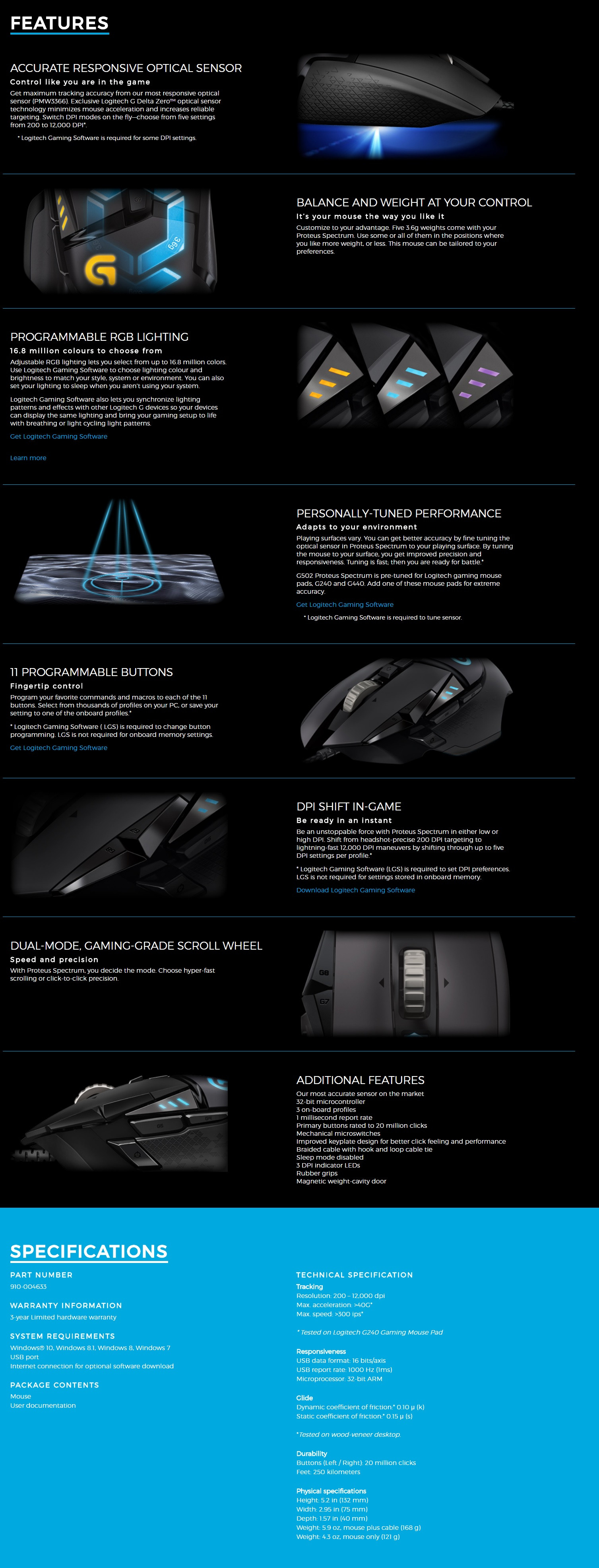 be7fcedfc58 Exclusive Logitech G Delta Zero™ optical sensor technology minimizes mouse  acceleration and increases reliable targeting. Switch DPI modes on the  fly—choose ...