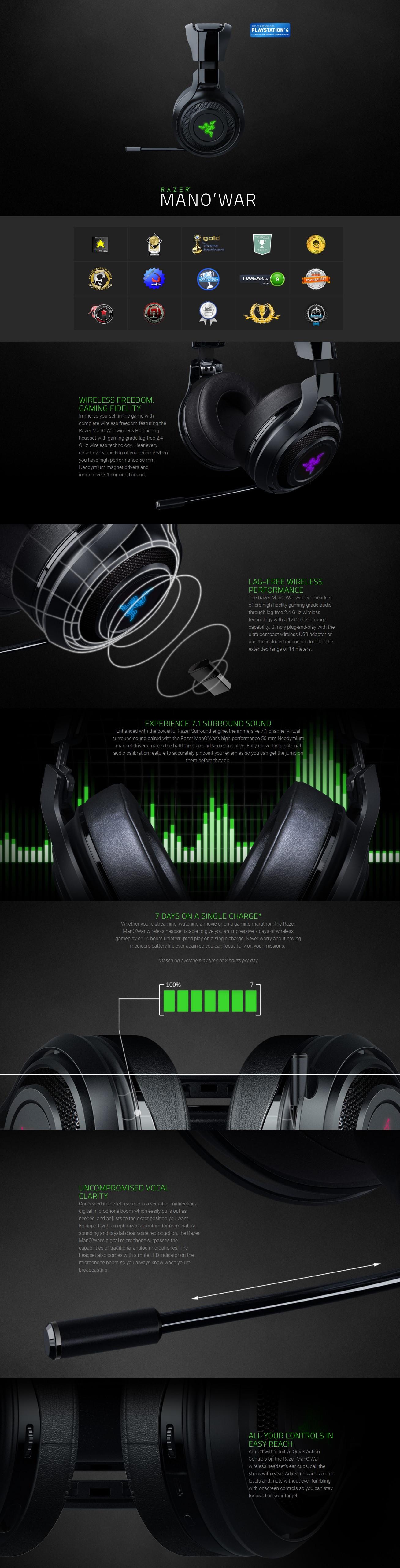 Razer ManO'War Wireless Gaming Headset (RZ04-01490100-R3U1)