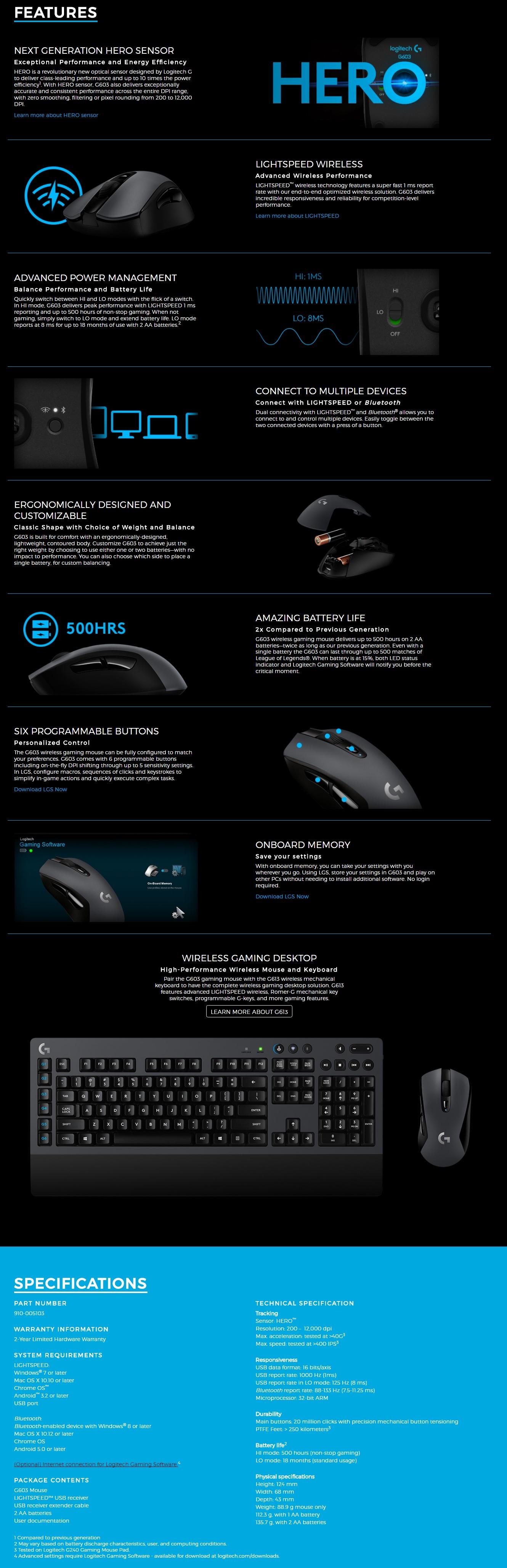 Logitech G603 LIGHTSPEED™ (910-005103) Wireless Gaming Mouse