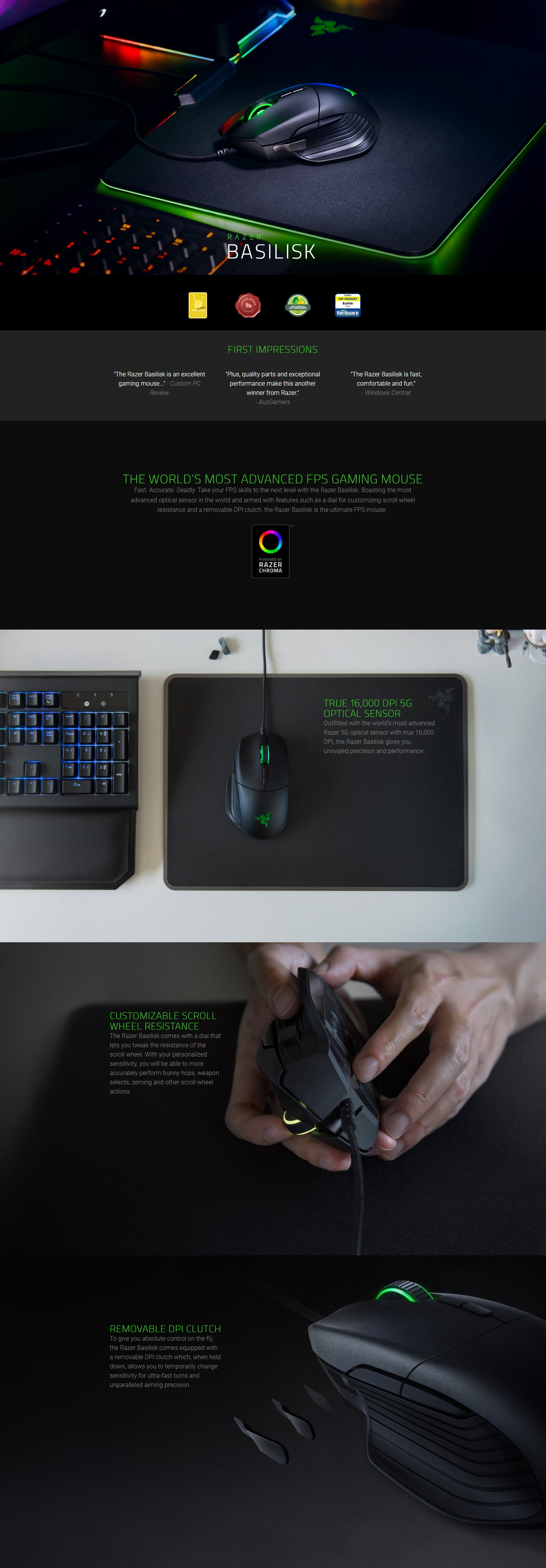 Razer Basilisk - Multi-Color FPS Gaming Mouse (RZ01-02330100-R3A1)