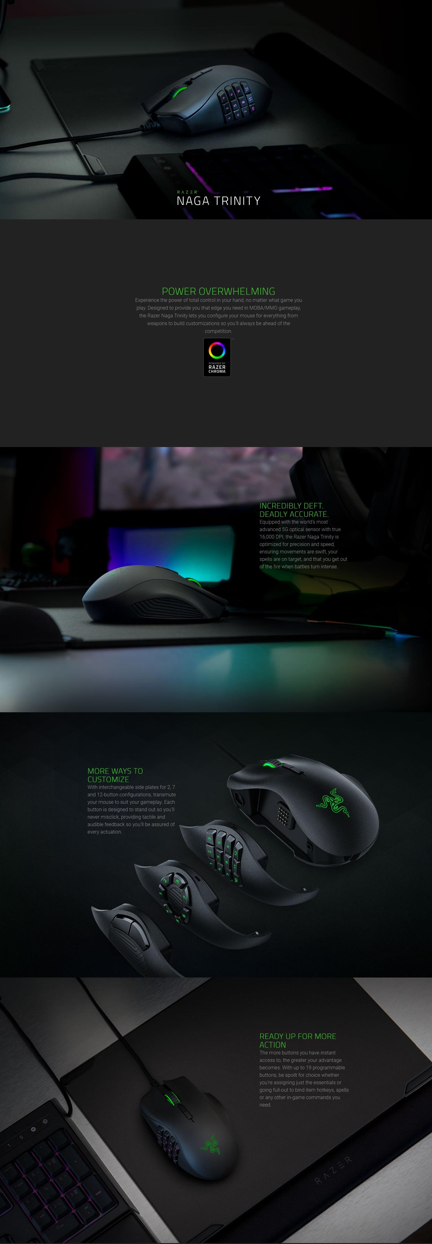 Razer Naga Trinity Multicolor MMO Gaming Mouse DESC123