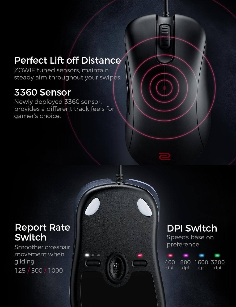 BenQ ZOWIE EC2-B 3360 Sensor Esports Gaming Mouse (Medium)