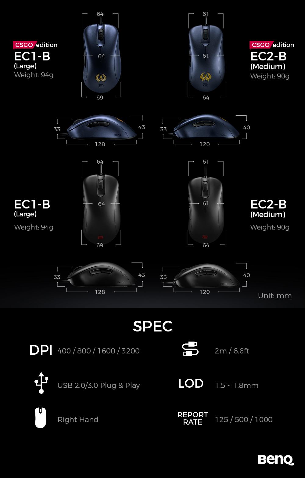 BenQ ZOWIE EC1-B CS:GO Version 3360 Sensor Esports Gaming Mouse (Large)