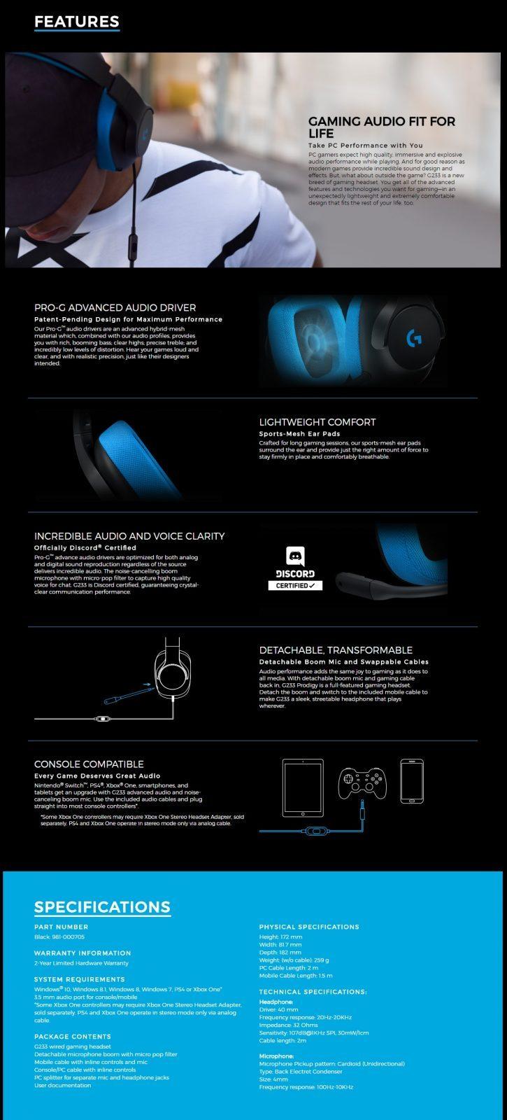 Logitech G233 Prodigy Gaming headset (981-000705)