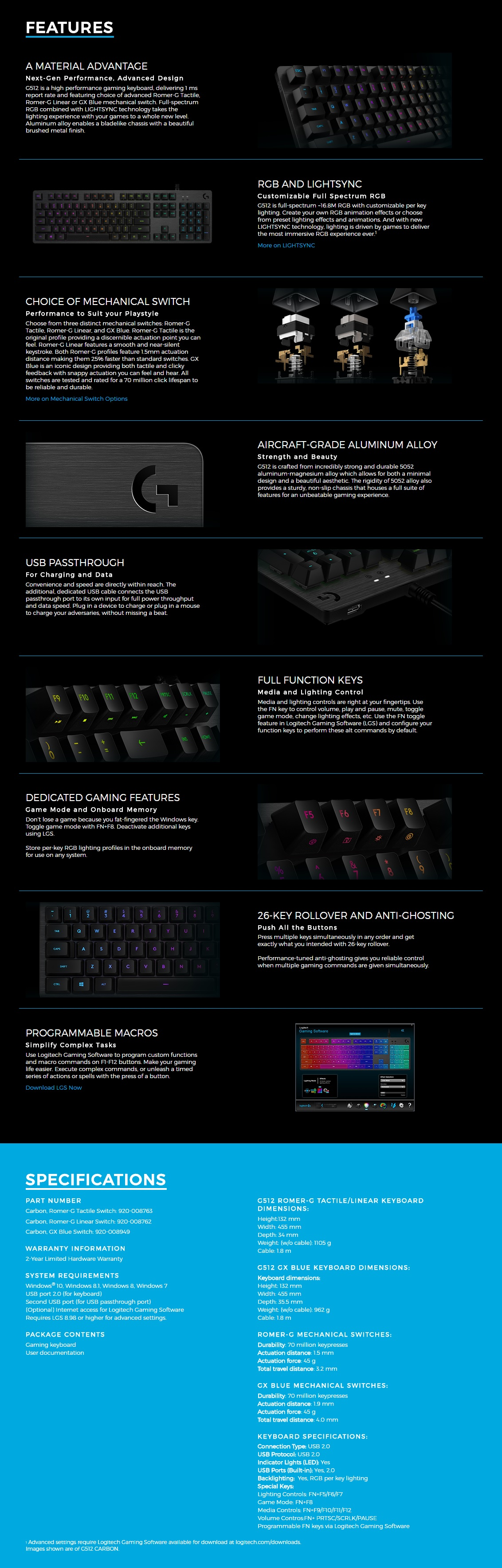 Logitech G512 Carbon RGB Gaming Gaming Keyboard