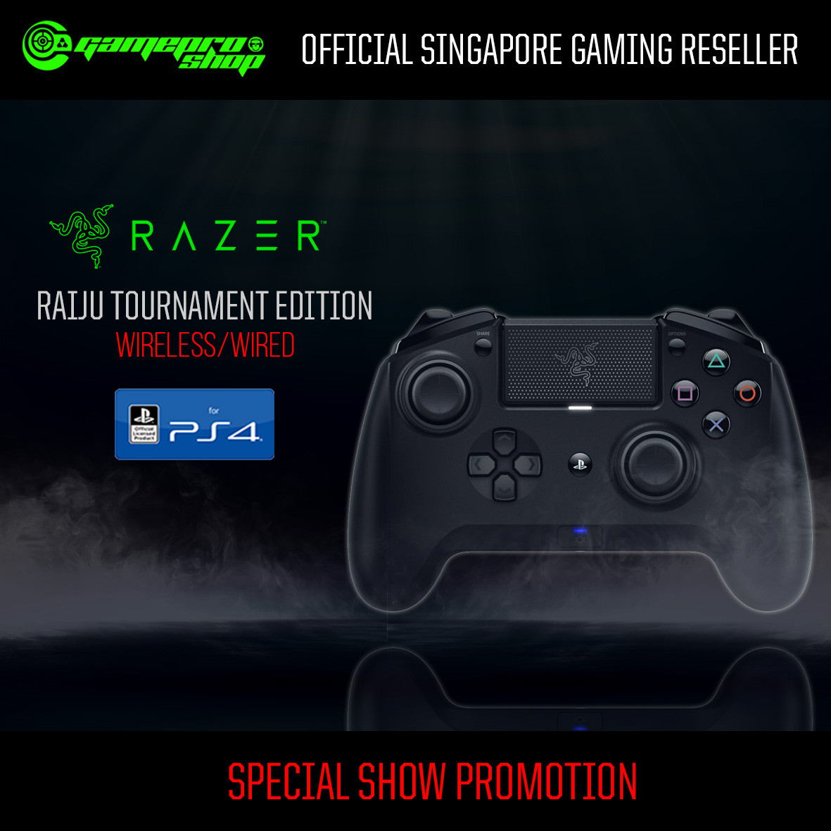Razer Raiju Tournament Edition Wireless/Wired Gaming Controller for PS4  (RZ06-02610100-R3A1)