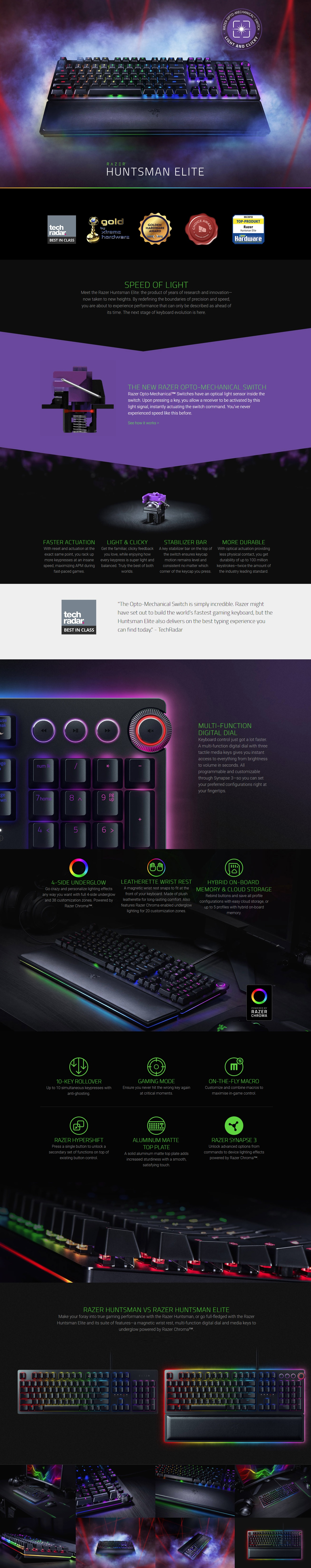 Razer Huntsman Elite OPTO Mech Gaming Keyboard - RZ03-01870100-R3M1 (2Y) -  GamePro Shop