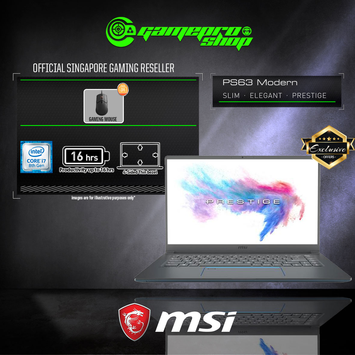 MSI PS63 8SC - 053SG EXCLUSIVE 512GB SSD (GTX 1650 4GB GDDR5)