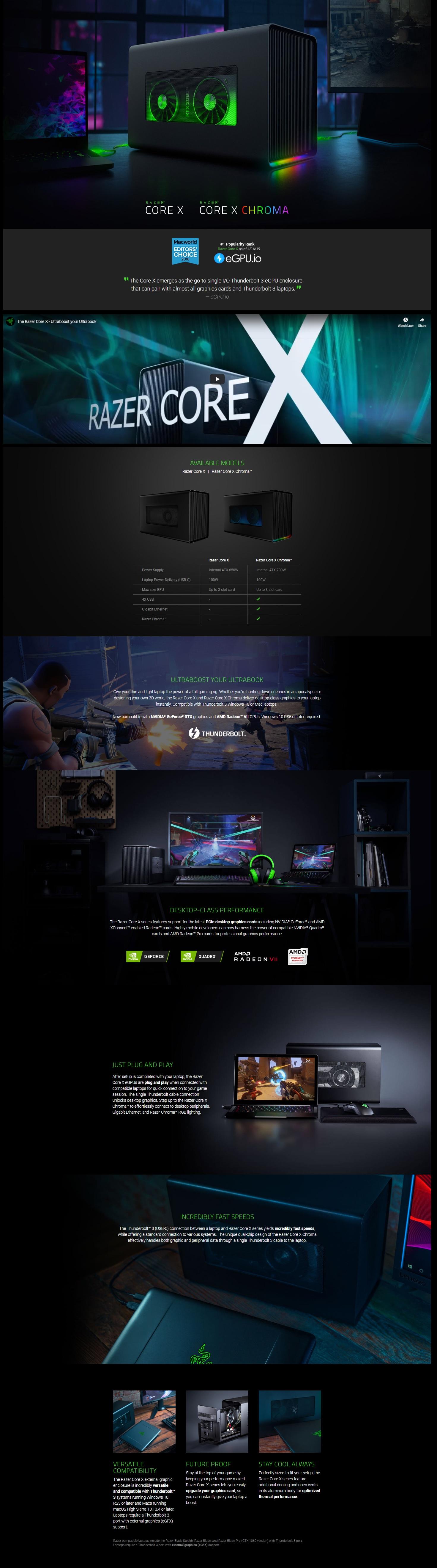 Razer Core X Chroma - Thunderbolt™ 3 eGPU (RC21-01430100-R3W1)