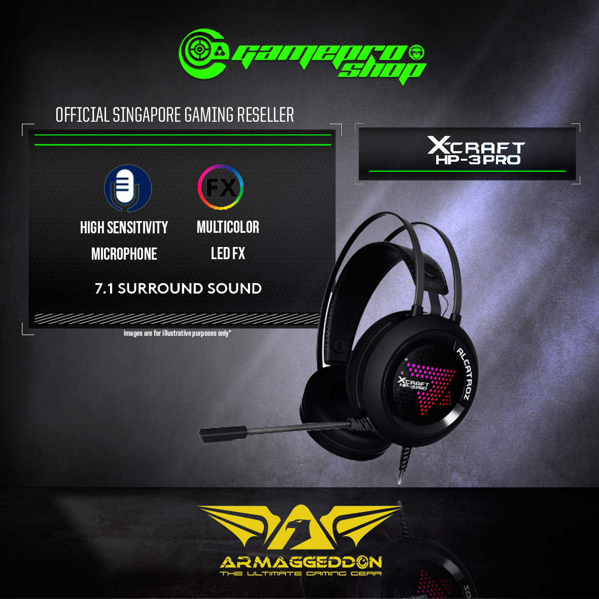 Armaggeddon Alcatroz X-Craft HP-3 Pro 7 1 Surround Sound Gaming Headset