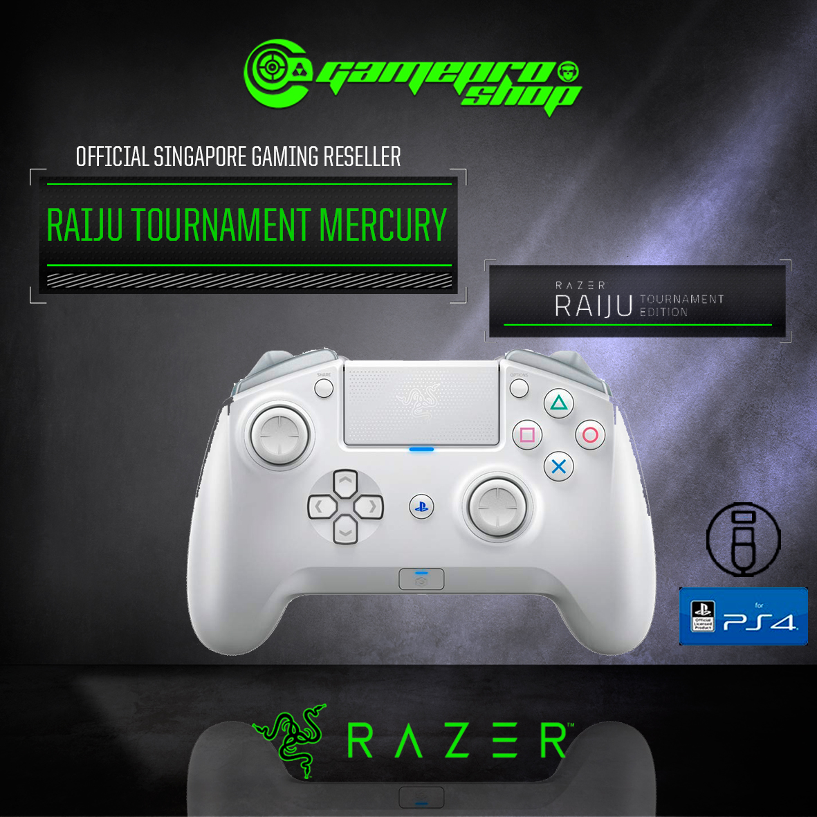 Razer Raiju Tournament Edition Wireless And Wired Gaming Controller For Ps4 Mercury Rz06 02610300 R3a1 1y Gamepro Shop Razer raiju ps4 gaming controller original box playstation 4. gamepro shop