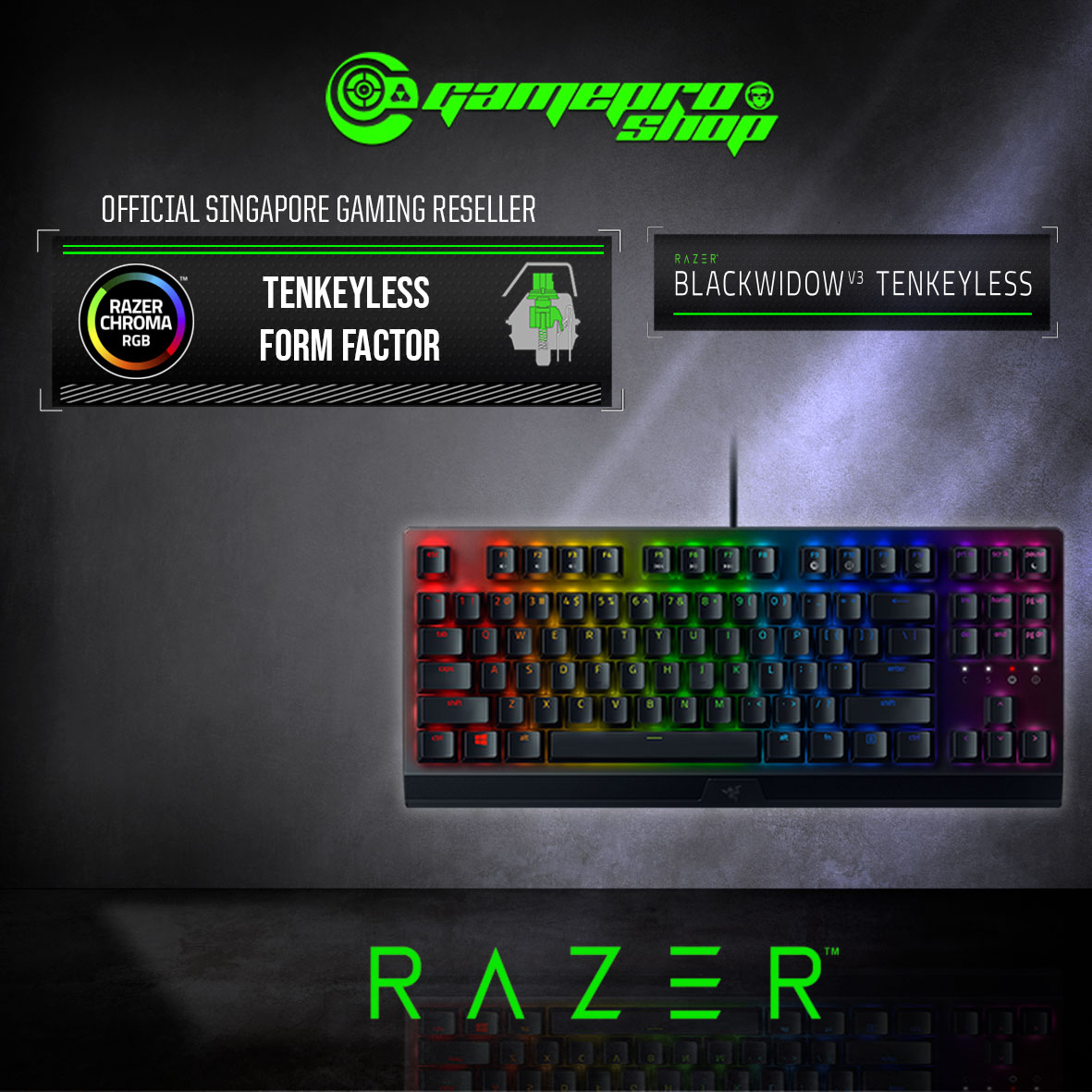 Razer Blackwidow V3 Tkl Mech Gaming Keyboard Rz03 03490100 R3m1 2y Gamepro Shop